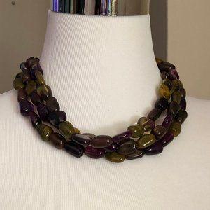Three Strand Natural Tone Beaded Necklace